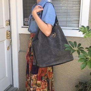 Super large gray Michael Kors suede/leather bag